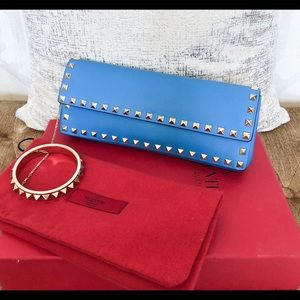 Valentino Blue Leather Rockstud Bangle Clutch